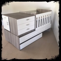 5-in-1 Cot Melamine White & Cascade (Drawers)