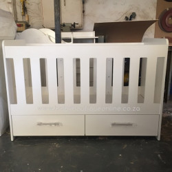 Large Wooden Cot with Split Drawer White