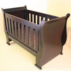 2 in 1 Sleigh Cot Burgundy