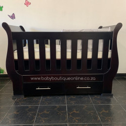 Sleigh Cot with Drawers Burgundy