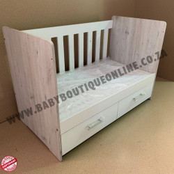 Large Wooden Cot with Split Drawer Burgundy
