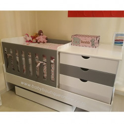 5-in-1 Cot Superwood White&Grey (Drawers)