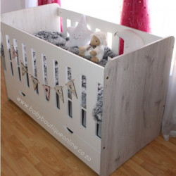 Large Wooden Cot with Split Drawer White&Nordic 01
