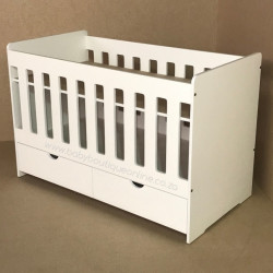 Large Wooden Cot with Split Drawer No Handles