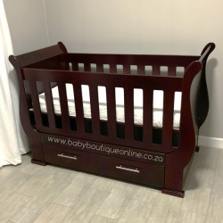 Sleigh Cot with Drawers Mahogany