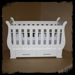 Sleigh Cot with Drawers White