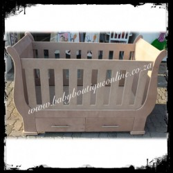 Sleigh Cot with Drawers Unpainted