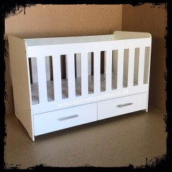 Wooden Cot with Drawer MDF White