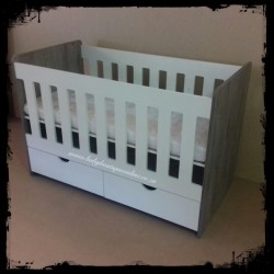 Wooden Cot with Drawer White & Haven
