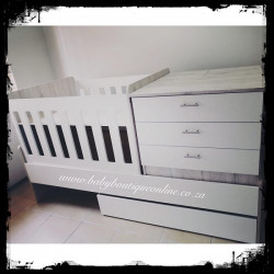 5-in-1 Cot Melamine White & Nordic Ice (Drawers)