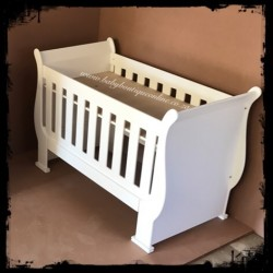 Sleigh Cot - Converts into toddler bed White