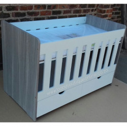 Large Wooden Cot with Split Drawer White & Cascade